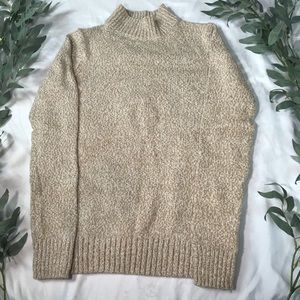 Cream and Tan Turtleneck Sweater Old Navy XS